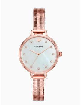 Metro Rose Gold Tone Stainless Steel Mesh Bracelet Watch by Kate Spade