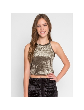 Goodbye Velvet Crop Top In Olive by Wet Seal