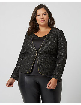 Sequin Bouclé Collarless Blazer by Le Chateau