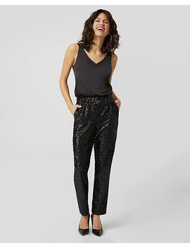 Sequin & Knit Track Pant by Le Chateau