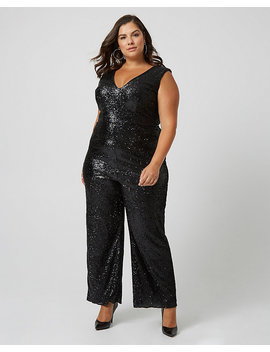 Sequin & Knit Wide Leg Jumpsuit by Le Chateau