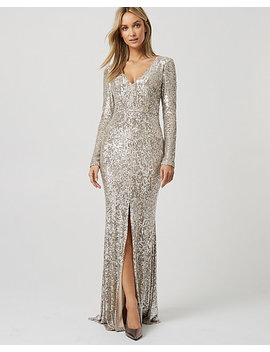 Sequin & Mesh V Neck Slit Gown by Le Chateau