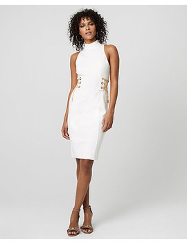 Lace Up Double Weave Mock Neck Dress by Le Chateau