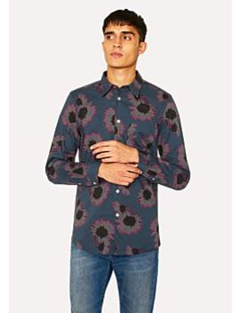 Men's Tailored Fit Navy 'sunflower' Print Shirt by Paul Smith