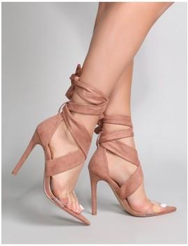 Hotspot Tie Up Heels With Perspex Strap In Nude Suede by Public Desire