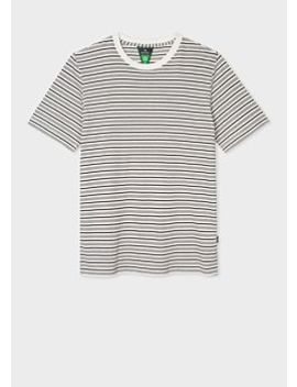 Men's White And Navy Stripe Organic Cotton T Shirt by Paul Smith