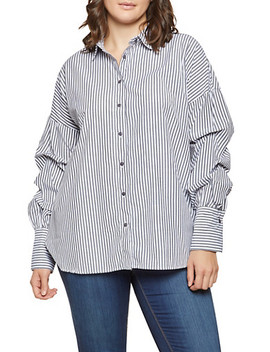 Plus Size Bubble Sleeve Striped Shirt by Rainbow