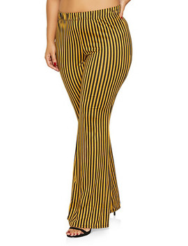 Plus Size Striped Flared Pants by Rainbow