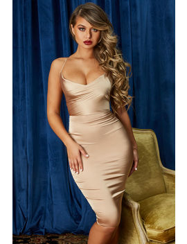 Cowl Play Cowl Neck Satin Midi Dress In Champagne by Oh Polly