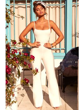Back To Back Petite Backless Bandage Jumpsuit In White by Oh Polly