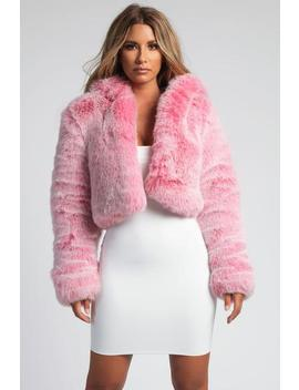 Immi Premium Faux Fur Cropped Hooded Coat   Pink by Meshki