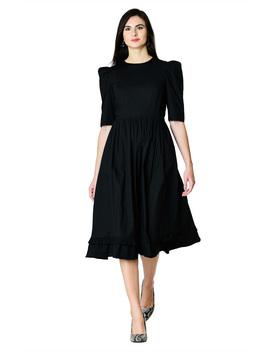 Ruffle Hem Cotton Poplin Dress by Eshakti