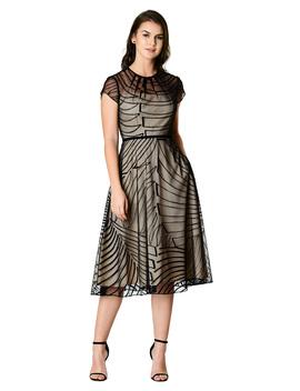 Graphic Wool Embellished Tulle Dress by Eshakti