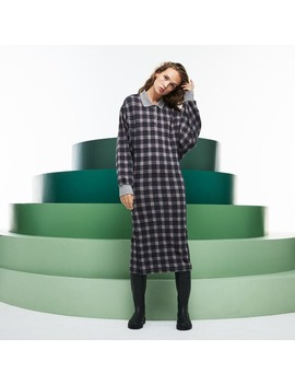 Women's Fashion Show Detachable Sleeves Check Fleece Dress by Lacoste