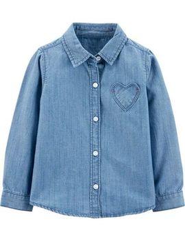 Denim Heart Button Front Shirt by Carter's