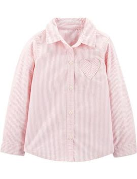 Striped Heart Button Front Shirt by Carter's