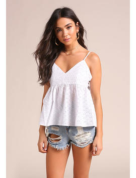 White Eyelet Tie Back Tank Top by Love Culture