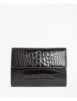 Crocodile Embossed Leather Clutch by Brooks Brothers