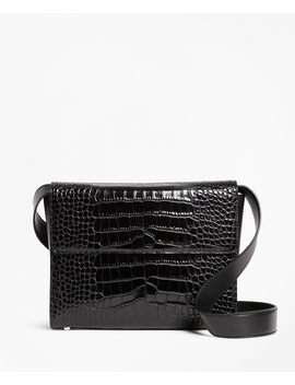 Crocodile Embossed Leather Shoulder Bag by Brooks Brothers