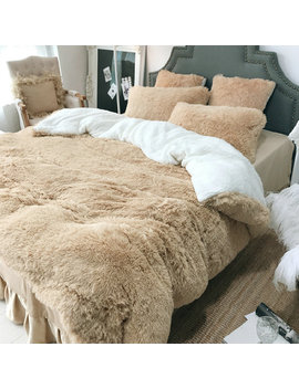 4 Pcs Coral Fleece Shearling Bedding Set Quilt Cover Bed Sheet Warm Mink Cashmere Cover Pillowcase by Newchic