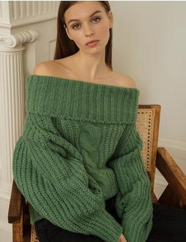 Green Cable Off The Shoulder Sweater by Pixie Market