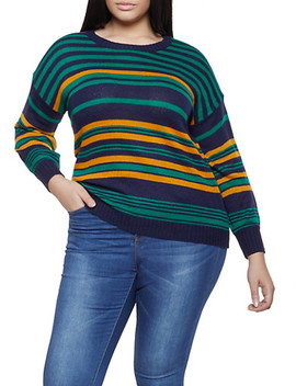 Plus Size Striped Long Sleeve Sweater by Rainbow