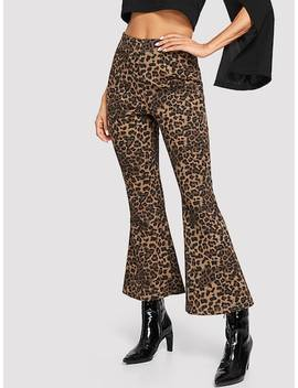 Leopard Print Flare Pants by Shein