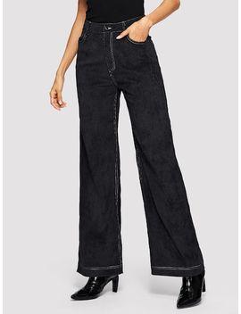 Contrast Stitch Wide Leg Corduroy Pants by Shein