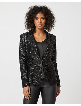 Sequin Notch Collar Blazer by Le Chateau