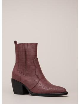 In A While Crocodile Block Heel Booties by Go Jane
