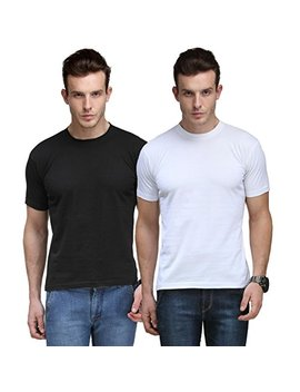 Cnmn Scottish Polo Men's Basic Round Neck Half Sleeves Solid T Shirts   Pack Of 2 by Cnmn