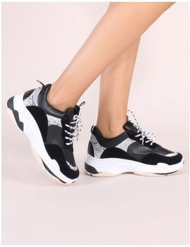 Cirque Chunky Trainers In Black by Public Desire