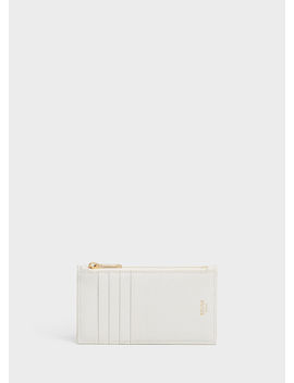 Zipped Compact Card Holder In Grained Calfskin by Celine