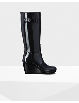 """<Span Itemprop=""""Name"""">Women's Refined Slim Fit Wedge Gloss Wellington Boots</Span>:                     <Span>Black</Span> by Hunter"""