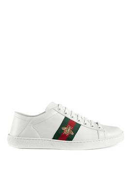Women's White Leather Bee Sneakers by Gucci                                      Sold Out