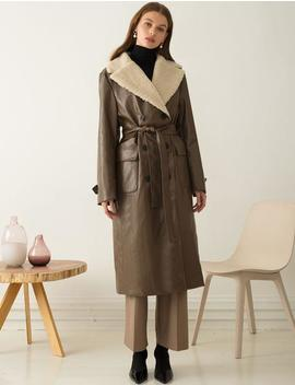 Brown Leather Trench Coat by Pixie Market
