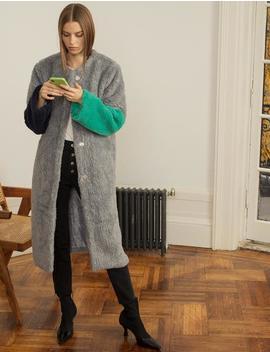 Color Block Faux Fur Grey Coat by Pixie Market