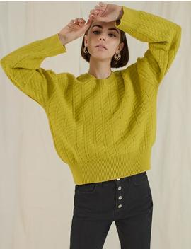 Chartreuse Cable Knit Sweater by Pixie Market