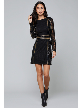 Sequin &Amp; Stud Mini Dress by Bebe
