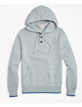 Cotton Heavy Knit Henley Hoodie by Brooks Brothers