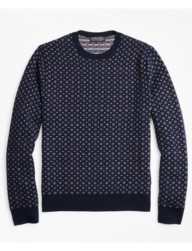 Merino Wool Foulard Jacquard Crewneck Sweater by Brooks Brothers