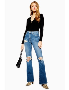 Mid Blue Wing Rip Jamie Flare Jeans by Topshop