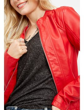 Red Faux Leather Jacket by Maurices