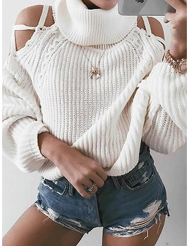 White High Neck Cold Shoulder Long Sleeve Chic Women Knit Sweater by Choies