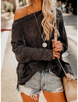 Black Asymmetric Neck Long Sleeve Chic Women Knit Sweater by Choies