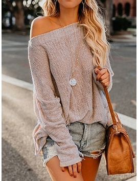 Beige Asymmetric Neck Long Sleeve Chic Women Knit Sweater by Choies