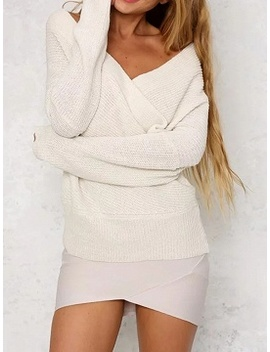 White V Neck Long Sleeve Chic Women Knit Sweater by Choies