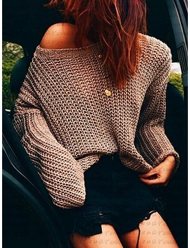 Khaki Long Sleeve Chic Women Knit Sweater by Choies