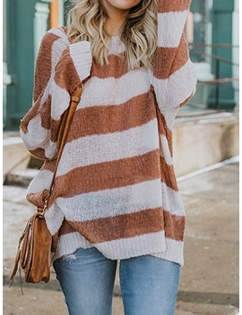 Brown Stripe Long Sleeve Chic Women Knit Sweater by Choies