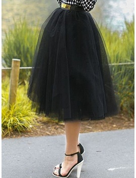Black High Waist Tulle Mesh Skater Skirt by Choies